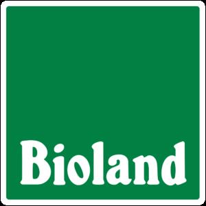 Dunkelgrünes Quadrat, darauf in weißen Buchstaben der Bioland-Schriftzug